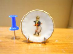 Quirky Dandy Cat Dollhouse Miniature Plate by TheQuirkyCurioShoppe, $4.00