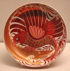 Dish    William De Morgan (1839-1917)    Hand-thrown.    Hawk and fish