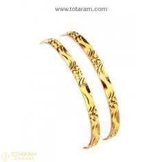 Gold Bangles in 22K - Set of 2 (1 Pair) - 235-GBL1104 - Buy this Latest Indian Gold Jewelry Design in 28.600 Grams for a low price of $1,496.59 Indian Gold Jewellery Design, Gold Jewelry, Jewelry Design, Women Jewelry, Gold Bangles For Women, Uncut Diamond, Diamond Bangle, Jewels, Bracelets