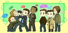 Gabriel, Lucifer, Michael, Raphael, Dean, Castiel, Sam