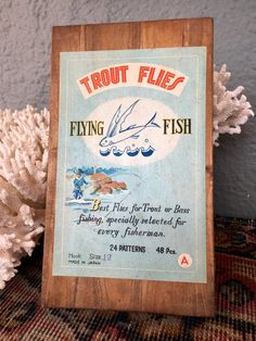 Beautiful Wooden Box of Hand Tied Trout Flies by Flying Fish, Japan by HappyCreekFarm on Etsy