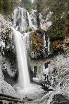 Falls Creek Falls in winter - Gifford Pinchot National Forest, Washington (by NWunseen on deviantART)