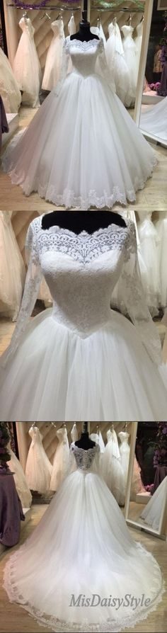 Modest Ball Gown Long Sleeves Lace Bridal Dresses