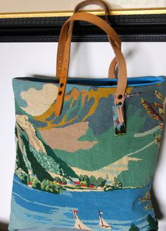 POSTCARD FROM ANNECY Tote bag upcycled vintage by QuatreJanvier