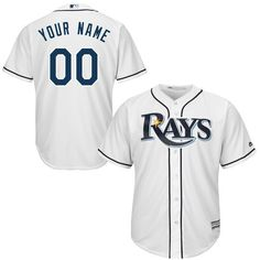 61d18744576 Youth Tampa Bay Rays Majestic White Custom Cool Base MLB Jersey