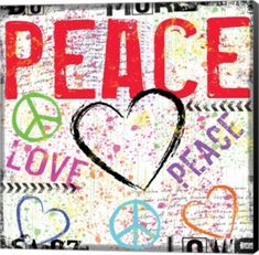 Love And Peace 2 By Louise Carey Canvas Art - Multi