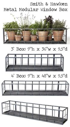 "Shop :: (REALLY WANT IT!) SMITH & HAWKEN PREMIUM QUALITY METAL MODULAR WINDOW BOX :: $99-119 | Target :: [9""h, 9.5""d, Available in 4'w & 3'w] Steel w/ zinc powder coating finish, rust resistant, has hanging holes for mounting :: The 3 footer wood be perfect for my large kitchen window sill. 