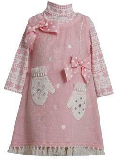 Bonnie Jean Girls Mittens Holiday Jumper Dress & Shirt Set, Pink, 4 - http://www.strollersreview.net/bonnie-jean-girls-mittens-holiday-jumper-dress-shirt-set-pink-4/