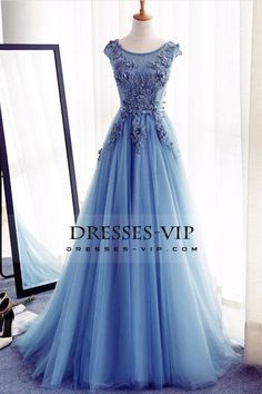 2017 Tulle Scoop With Applique And Sash Prom Dresses A Line Lace Up US$ 199.99 VPPGXENT1P - Dresses-Vip.com