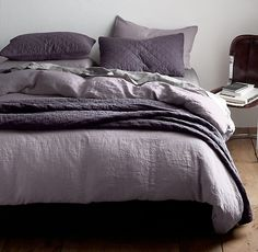 Garment-Dyed Linen Bedding Collection / Duvet cover and shams shown in orchid. Diamond Quilt and Shams shown in aubergine. Purple And Grey Bedding, Plum Bedding, Echo Bedding, Comforter Sets, King Comforter, Purple Bed Linen, Purple Bed Sheets, Purple Comforter, Purple Pillows