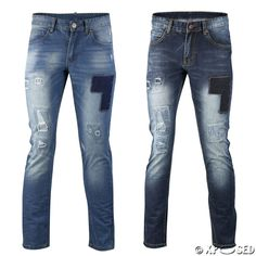 41028bedacbe Mens Designer Style Blue Trousers Slim Fit Jeans Ripped Patched All Waist  Sizes