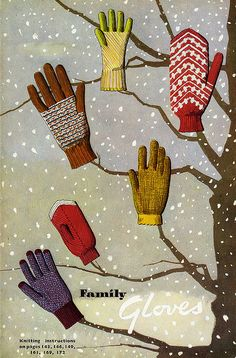 Glove patterns, 'Knitting Illustrated' - M. Murray & J. Koster, 1948. #vintage #winter #gloves #1940s