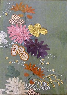 Piece from a Kosode with Chrysanthemums and Waves  Period: Edo period (1615–1868) Culture: Japan Medium: Resist-dyed and painted plain weave silk crepe (chirimen), embroidered with silk and metallic thread Dimensions: Sight: 9 3/8 x 6 11/16 in. (23.8 x 17 cm) Classification: Textiles-Dyed and Embroidered