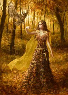 Herbstfee  Herbstelfe Eule Herbstblätterkleid