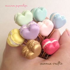 Macaron heart paperclips zakka clay food paper clip by xunnux