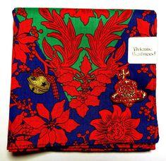 Vivienne Westwood Handkerchief hanky scarf bandana Cotton Red Xmas Auth New  #VivienneWestwood #DesignerArtist