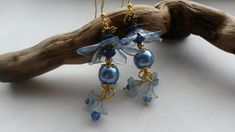 Earrings Large Blue Flowers  £5.00