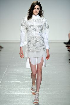 Daphne in the White Sleeved Shirt Dress and Diamante-Encrusted Patch Dress #SS14