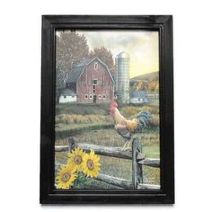 Early Rooster ... Wood framed Chicken and Barn print by BoggyCreekPrimitive #farmhouse #country