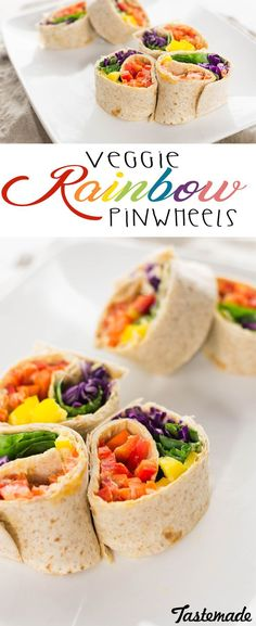 Rainbow Pinwheels Tasting the rainbow has never been so healthy. These pinwheels are easy to pack for lunch and enjoy on the go.Tasting the rainbow has never been so healthy. These pinwheels are easy to pack for lunch and enjoy on the go. Rainbow Snacks, Rainbow Food, Eat The Rainbow, Rainbow Parties, Rainbow Baby, Veggie Snacks, Healthy Snacks, Veggie Food, Vegetarian Recipes