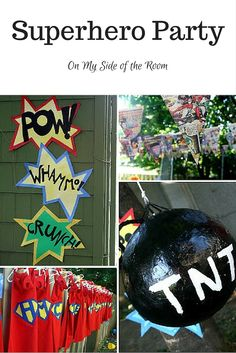 What little boy (or girl) doesn't want to be a superhero? Ideas and tutotials for a great superhero birthday party. Capes, vintage comics, bomb pinata, fun easy games. Pin for later!