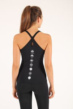 Shakti Shanti Yoga Wear Womens Tear Drop Chakra Top Tear drop activewear vest with chakra design.