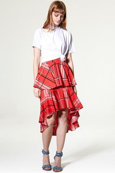 Isa Ruffle Check Midi Skirt Discover the latest fashion trends online at storets.com
