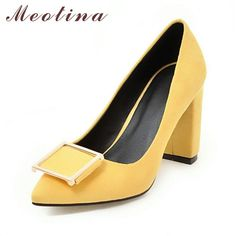 9dbb660917b5 Meotina High Heels Shoes Women Pumps Party Shoes Fashion Thick High Heels  Pointed Toe Flock Ladies Shoes Gray Plus Size 10 40 43