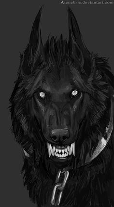 """Vestele's hound - Lycaon  (Grim Reaper:  #Underworld #Hound ~ """"Sketch,"""" by Atenebris, at deviantART.)"""