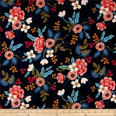 Cotton + Steel Rifle Paper Co. Les Fleurs Rayon Challis Birch Floral Navy from @fabricdotcom  Designed by Rifle Paper Co. for Cotton + Steel, this lightweight rayon challis fabric has a smooth luxurious hand and soft, liquid drape. Perfect for fuller skirts & dresses, blouses, shirts, scarves and tunics. Colors include navy, blue, light pink, olive, orange, pink and black.
