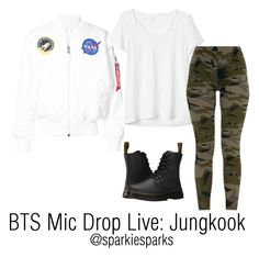 """""""BTS Mic Drop Live: Jungkook"""" by sparkiesparks on Polyvore featuring Alpha Industries, Gap, Dr. Martens, cute, outfit, love, kpop and bts"""