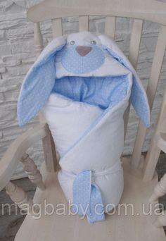 """Конверт-одеяло на выписку """"Мамина Зайка"""" голубой, фото 1"""