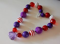 Valentine's Day Sweetie Chunky Necklace Purple by ittybittylydi, $22.99