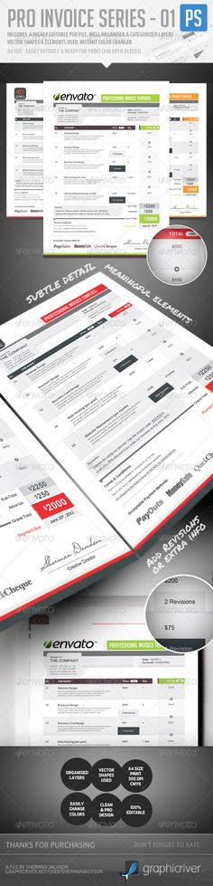 Pro Invoice Template Series - 01 by ShermanJackson Presenting to you a professional Business Resume, Business Proposal, Business Tips, Stencil Templates, Graphic Design Templates, Print Templates, Invoice Design, Invoice Template, Proposal Photography