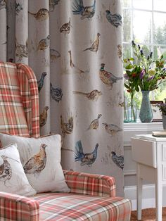 English country fabrics by voyage country. english country fabrics by voyage country bird curtains, cottage English Country Decor, Country Interior, Modern Interior, Interior Design, Living Spaces, Living Room, Soft Furnishings, Decoration, Family Room