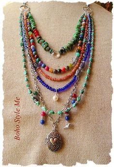Reserved Bohemian Necklace Multi Strand Gemstone Necklace