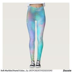 Soft Marbled Pastel Colored Leggings