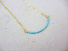 Modern Minimal Gold Turquoise Delicate Curved Necklace, bead bar necklace, Layering, Sleek, Chain, seed beads, everyday jewelry, Kei style   *