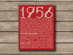 1956 Printable 60th Birthday or Anniversary by shopmarigoldlane