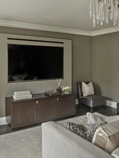Clever idea for wall-mounted TV in bedroom, sideboard, storage, credenza, hidden TV, bedroom ideas