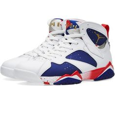 Nike Air Jordan 7 Retro (White & Metallic Gold Coin) ($278) ❤ liked on Polyvore featuring accessories and nike