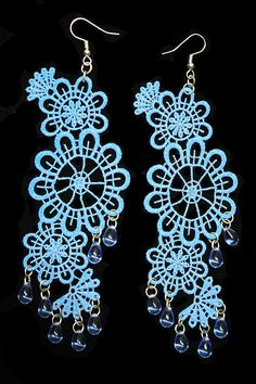Blue Lace Drop Earrings with Lace Appliqué & Glass Drops - JnE