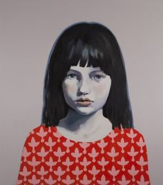 Claerwen James is known for her painted portraits of young female subjects, which explore the private moments captured by photographic snapshots.
