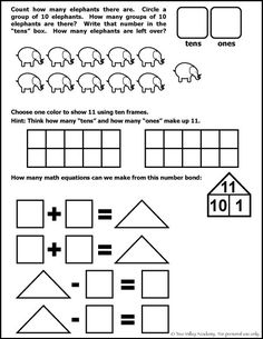 Free math worksheet for Kindergarten or Grade 1 student. The number 11.  Learning place value, number bonds, fact families, and showing in ten frames.