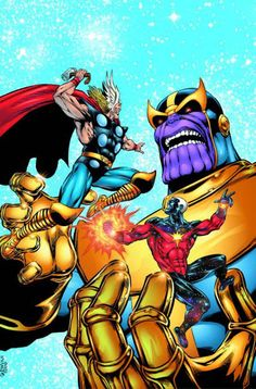 Thanos, Thor & Captain Marvel by Jim Starlin & Al Milgrom