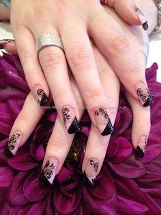 Black and pink freehand nail art