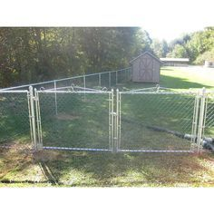 Hoover Fence Residential Chain Link Fence Double Swing Gates 1 3 8 Galvanized Frame In 2020 Double Swing Chain Link Fence Chain Link Fence Gate