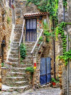 Bussana Vecchia, Italy I would love to vacation here Places Around The World, Oh The Places You'll Go, Places To Travel, Around The Worlds, Beautiful World, Beautiful Places, Windows And Doors, Stairways, Belle Photo