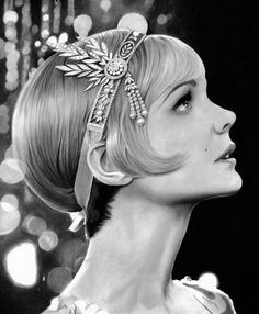 Carey Mulligan - Daisy from The Great Gatsby by cfischer83 on DeviantArt Carey Mulligan, Daisy Great Gatsby, The Great Gatsby Movie, Ryan Gosling, Realistic Drawings, Cool Drawings, Hair Drawings, 1920s Aesthetic, Aesthetic Fashion