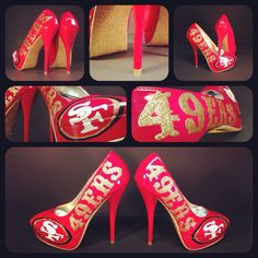 hand painted 49ers inspired bright red and gold platform high heel stiletto size 7. $150.00, via Etsy.